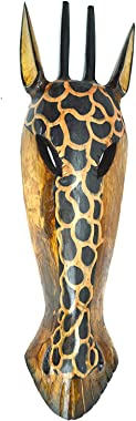 "20"" Pair of Giraffe and Zebra Hand Carved Tribal Head Masks"