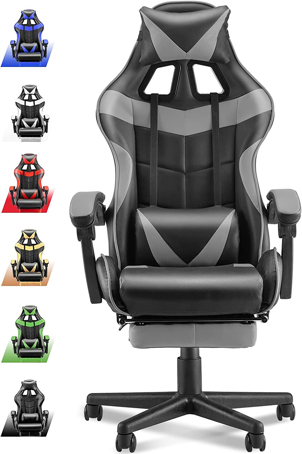Soontrans Grey Gaming Chair with Footrest Review