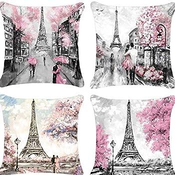 Decorative Paris Lovers Throw Pillow Covers 18x18 Pink Paris Pillow Case Cotton Linen for Girls Sofa Couch Patio Porch Set of 4