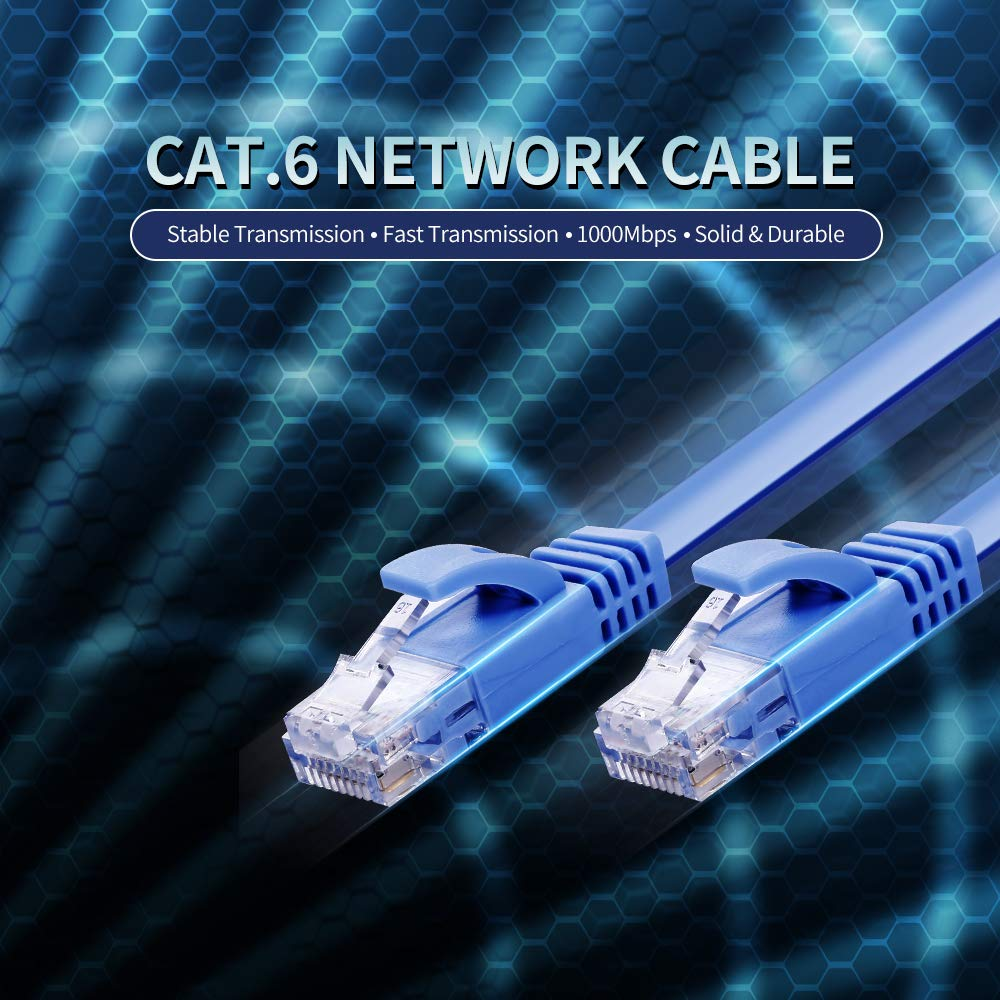 CAT.6 Ethernet Cable Household Gigabit CAT6 Network Cable RJ45 Patch Cable PVC Soft Cable High Speed Network Cable 1m Zwbfu Cable
