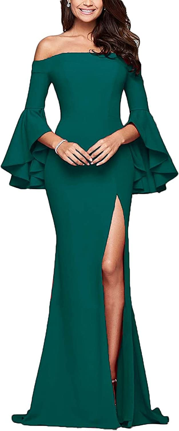Sound of blossoming SOB Women's Off The Shoulder Long Sleeve Prom Dress Long Side Split Mermaid Evening Gowns SOB206