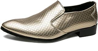shangruiqi Mens Microfiber Leather Oxford Classic Formal Fashion Dress Shoe Abrasion Resistant (Color : Gold, Size : 6 UK)