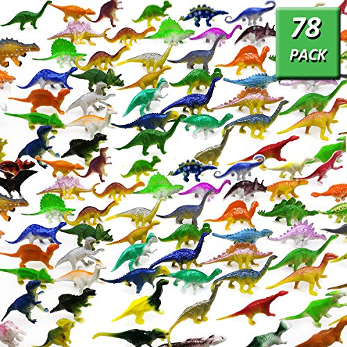 78 Pack Mini Dinosaur Figure Toys, Plastic Dinosaur Toy Set for Kids Toddler Birthday Christmas Easter Valentines Day Gifts, Including T-rex, Stegosaurus, Monoclonius, etc