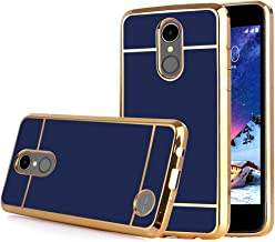 TabPow LG Aristo Case, Electroplate Slim Glossy Finish, Drop Protection, Shiny Luxury Case for LG Phoenix 3 / LG K8 2017 / LG Fortune/LG Risio 2 - Royal Blue Gold