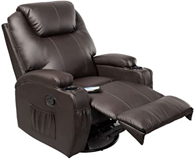 GHP Brown Sturdy Ergonomic Seating Massage Recliner Sofa Chair Lounge Heated w Control