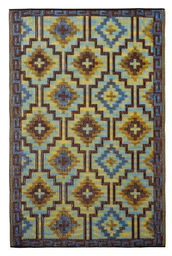Fab Habitat Lhasa - Alfombra, 120 x 180 cm, Color Azul Real y marrón Chocolate