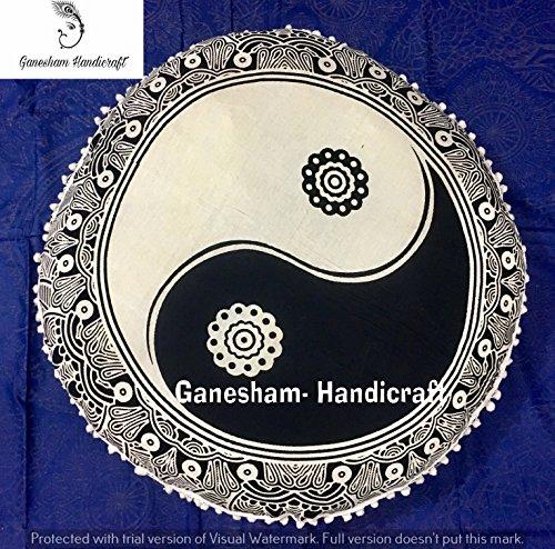 Ganesham Handicrafts- rond Mandala Taie d'oreiller Couvre-lit, faite à la main Sequine Taie d'oreiller, Boho Décor, Home Decor, Tapisserie Ying Yang, rond, assise Pouf Ottoman, Mandala Coussin de sol (Cadeau de Noël)