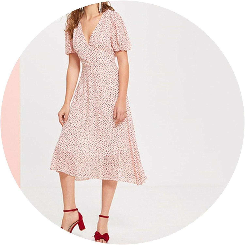 Zalin Plunge Neck Puff Short Sleeve High Waist Polka Dot Long Dress Women A Line Fit and Flare Dresses
