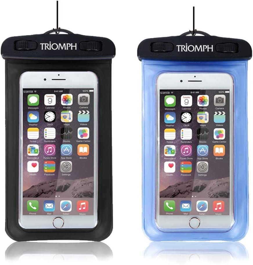 Triomph Universal Waterproof Phone Pouch,Waterproof Phone Case,iPhone Dry Bag with Military Class Lanyard for iPhone 11/Xs Max/Xr/X/8/8Plus/7Plus/6s Plus,Samsung Galaxy S10 S9+,Note,6.5