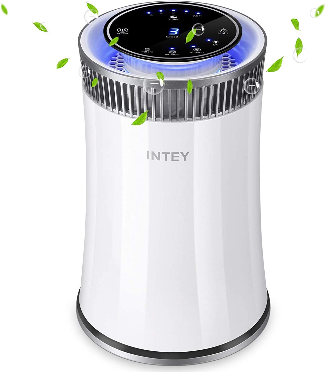 INTEY Hepa Air Purifier - Smart 8H Timer, Soothing bluee Night Light, Quite Air Purifiers for Home - Removes 99.97% Allergies, Smoke, Dust, Pollen, Pet Dander