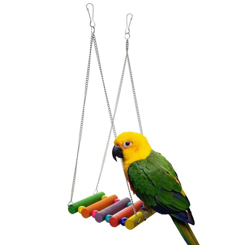 Niedlich mascotas pájaro Escalera de madera Escalada Papagayo periquitos Periquito cacatúas jaula Hamaca Columpio juguete Distressed: Amazon.es: Productos para mascotas