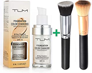 GL-Turelifes Flawless Colour Changing Liquid Foundation, Warm Skin Tone Concealer Face Makeup Base Nude Oil Control Moisturizing Long-lastingSPF 15 (Foundation+2pc Professional Foundation Brush)