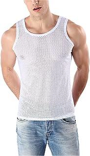 Zhhlaixing メンズ 通気性の Vest アンダーシャツ スリムフィット ノースリーブ tシャツ 夏 アスレチック 弾性 Ice silk メッシュ タンクトップ