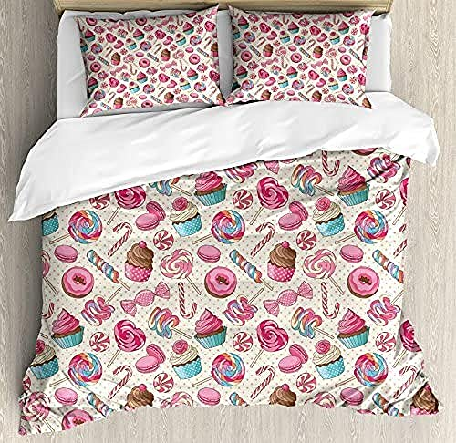 HSBZLH Duvet Cover Set,Candy Macaroon Cupcake and Donut on Polka Dots Pattern, Decorative 3 Piece Bedding Set with 2 Pillow Shams, Pink Cream