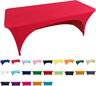 Spandex Fitted Stretch Tablecloth Rectangular Polyester Table Cover for Wedding Banquet Party (4 ft. Open Back, Red)