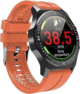 """hwbq Smart Horloge Horloge 1,3 """"Kleurenscherm Sport Horloge Informatie Push Smart Call Sedentaire Herinnering Zwart-Oranje"""