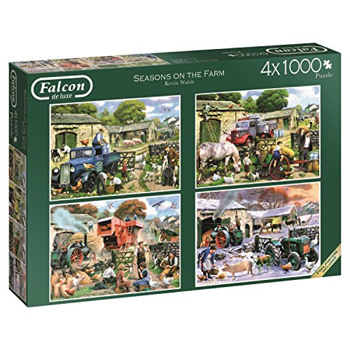 Jumbo spel 11181 - Falcon De Luxe Seasons on the Farm, puzzels, 4 x 1000 delen