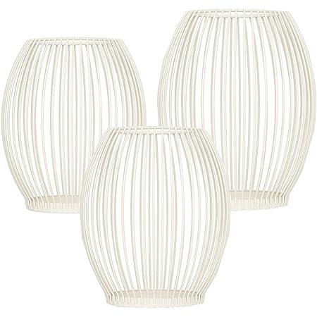 Queta Set di 3 portacandele ovali in metallo, decorazione per candele, candele, candele, candele, candelabro, decorazioni in metallo, per compleanni, Natale (bianco)