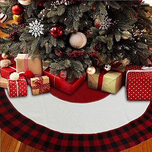 Panda Eye Knitted Christmas Tree Skirt, 48 inches Buffalo Plaid Knitted Thick Rustic Xmas Holiday Tree Mat Decoration for Bedroom Living Room Hotel Center Commercial, Redblack