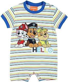 Babybogi Paw Patrol Baby Strampler | Größe 62 | Kurzarm Schlafanzug Baby in hellblau gestreift | Baby Kleidung für Jungen