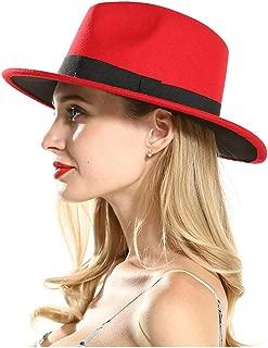 Fascinator Jazz Hat Women Wool Red Fedora Hat for Autumn Wide Brim Travel Jazz Church Cap (Color : Red, Size : 56-58)