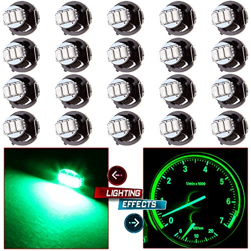cciyu 20 Pack T4/T4.2 Green Neo Wedge 3LED A/C Climate Control Light Bulbs Replacement for Indicator Light Instrument Panel Light