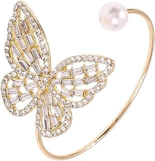 حجر الراين فراشة كبيرة الكفة سوار للنساء للنساء قابل للتعديل اللؤلؤ فتح سوار مجوهرات هدية