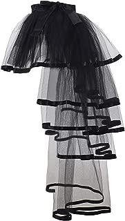GRACEART Steampunk Tie-on Bustle Costume Tutu Lace Underskirt (Black Edge)
