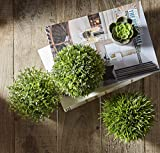 Jobary Set mit 3 künstlichen grünen Gras Pflanzen in grauen Töpfen, kleine dekorative Faux Plastik Pflanzen, ideal für Heim Büro Bad Küche und Outdoor Dekoration - 4