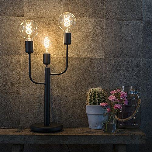 QAZQA - Art Deco Art Deco Tischleuchte | Tischlampe | Lampe | Leuchte schwarz 3-flammig - Facile | Wohnzimmer | Schlafzimmer - Metall Andere - LED geeignet E27