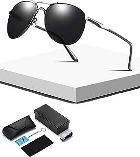 HQPCAHL - Gafas De Sol Piloto Aviador Clásico para Hombre Y Mujer con Bolsa Protectora Protección 100% UV Gafas De Sol Polarizadas