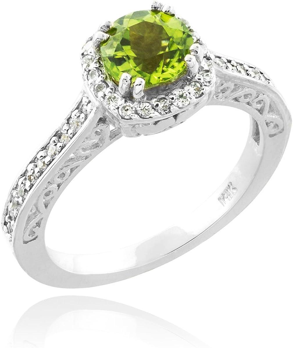 10k White Gold Diamond Halo Band August Birthstone Peridot Engagement Ring (Size 8.5)