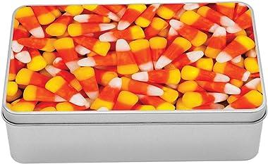 Lunarable Candy Corn Tin Box, Still Life Top View Photo of Halloween Dessert Tangerine Tones, Portable Rectangle Metal Organi