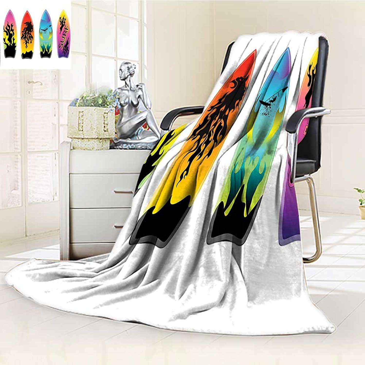 YOYI-HOME Digital Printing Duplex Printed Blanket Windsurf Youth Culture Freedom California Ocean Sand Time Image Purple Black Summer Quilt Comforter  W59 x H39.5