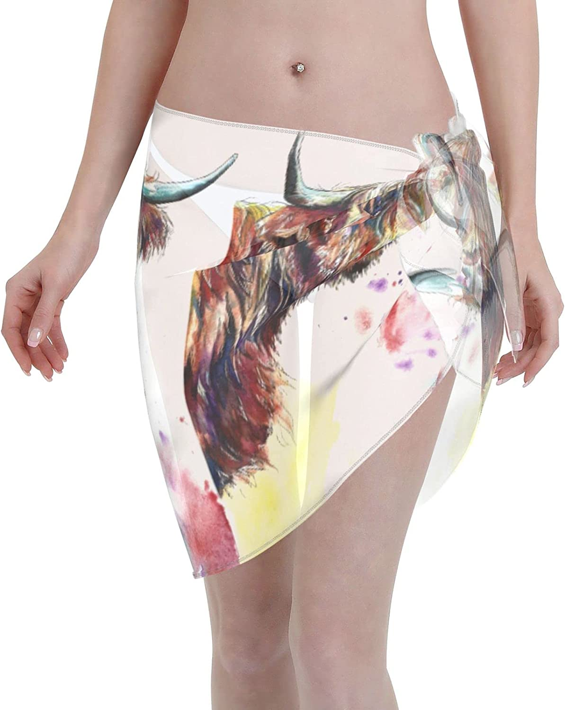 Highland Cow Women Beach Short Sarongs Cover Ups Beach Swimsuit Wrap Skirt Black