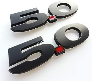2 pieces(pair) 5.0 Liter Door Fender Side Emblem Badge Plate for Ford Mustang F150 GT - Matte Black