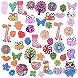 50 pezzi bottone fai da te in legno, Bottoni in legno per cucire, Bottone in legno fatto a mano, bottoni colorati per l'artigianato per bambini 1 foro, 2 fori, 4 fori