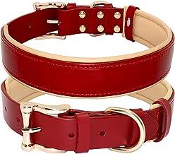 Halsband, lederen collares grote halsbanden solide verstelbare gevoerde puppy kraag voor kleine medium grote hond blauw,Ro...