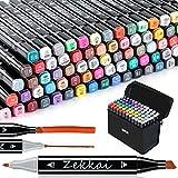 Zekkai Marker Pen Colores Rotuladores Graffiti 80 Colores Rotuladores de Doble Punta, Ideal para Niños, Adultos, Artistas, Buen Regalo para Navidad, Año Nuevo, Fiesta