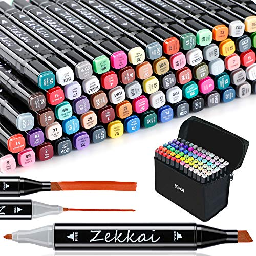 Graffiti Stifte, Zekkai 80 Farbige Marker Stifte Set Fettige Mark Farben Twin Tip Textmarker Markerstifte Set für Studenten Manga Kunstler Design Schule Drawing