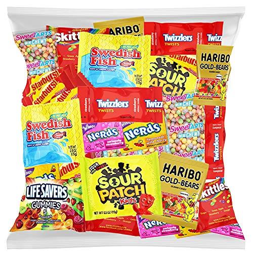 Bulk Assorted Fruit Candy - Starburst, Skittles, Swedish Fish, SweeTarts, Nerds, Sour Patch Kids, Haribo Gold-Bears Gummi Bears & Twizzlers (32 Oz Variety Fun Pack) by Variety Fun by Custom Varietea