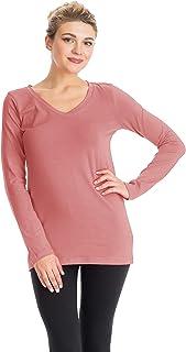 NANAVA Women's Regular Fit Cotton V-Neck Long Sleeve Top Tee T-Shirts