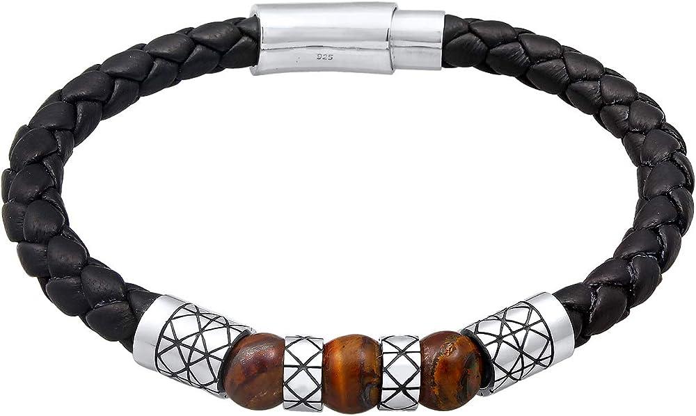 Kuzzoi - bracciale da uomo in pelle nera con chiusura magnetica e elementi in argento sterling 925