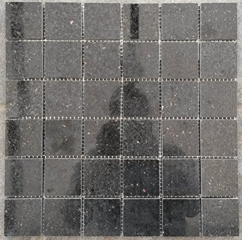 M041 - Alfombra de granito para mosaico (30 x 30 cm, 4,8 cm), color negro
