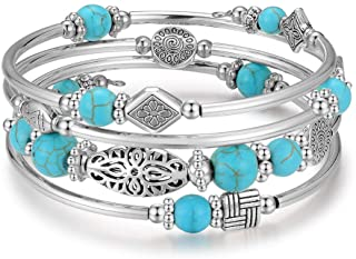 BULINLIN Layered Wrap Bangle Turquoise Bracelet - Bead Bracelet with Natural Agate Stone, Gifts for Women