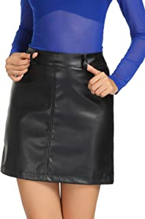 Kate Kasin Women's Faux Leather High Waisted Stretchy A-Line Mini Pencil Skirt