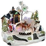 WeRChristmas–Animated Musical Papá Noel casa con rotación de Ciervo Navidad decoración, Multicolor, 28cm