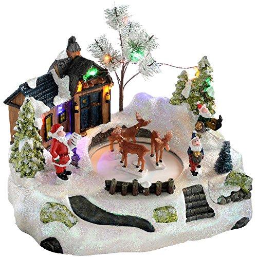 WeRChristmas Décoration Musical animé père House avec décoration de Noël cerf Rotatif, Multicolore, 28 cm