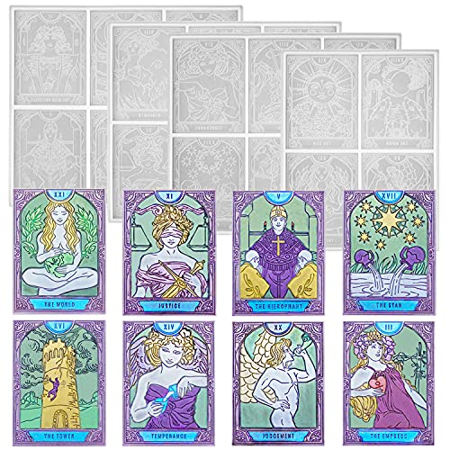 ResinWorld 22pcs Large Tarot Card Resin Mold Silicone (3.38 X 2.44 inches), Full Set Major Arcana Tarot Cards Deck Silicone Molds for Resin Casting, Divination Card Game Mold