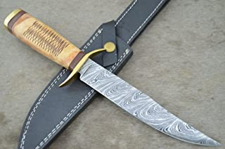 Leather-n-Dagger SALE One-of-a-Kind Custom Made Damascus Crafted Wood Bowie Knife Great Gift LDD10
